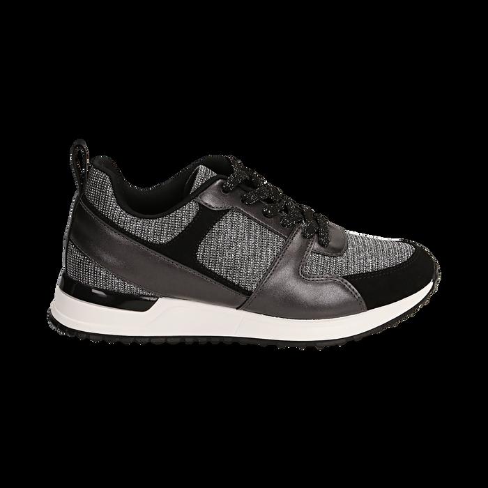 Sneakers canna di fucile glitter con dettagli in eco-pelle, Scarpe, 14D814301GLCANN036
