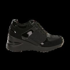 Sneakers nere glitter, zeppa 6 cm , Primadonna, 162801945GLNERO037, 001 preview