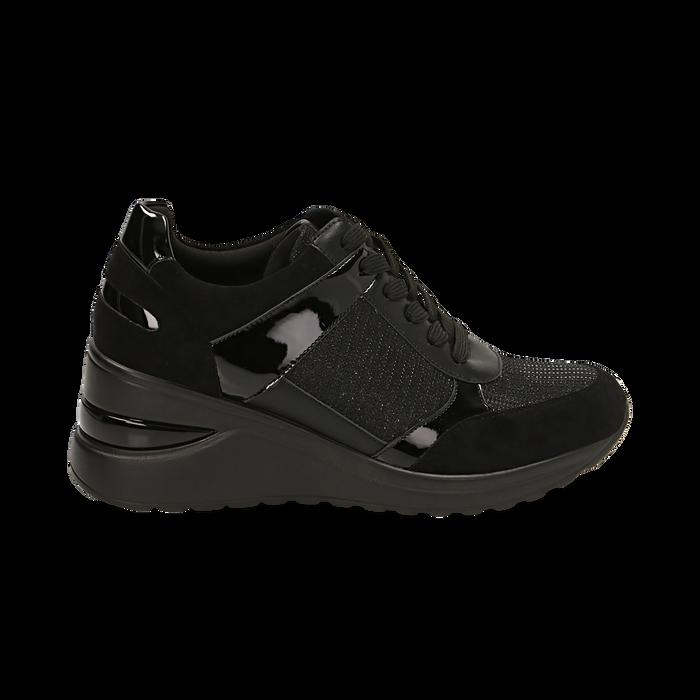 Sneakers nere glitter, zeppa 6 cm , Primadonna, 162801945GLNERO037