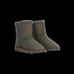 Scarponcini invernali scamosciati grigi , Scarpe, 125001041MFGRIG036, 002