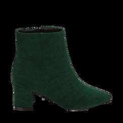 Ankle boots verdi microfibra, tacco 6 cm, Stivaletti, 144916811MFVERD035, 001a