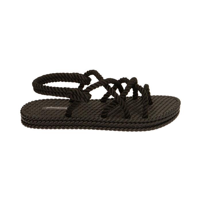 Sandalias de mar negras de tela, Primadonna, 170909002TSNERO035
