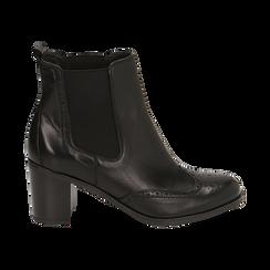 Ankle boots neri in pelle, tacco 7,50 cm, Primadonna, 167738004PENERO035, 001 preview