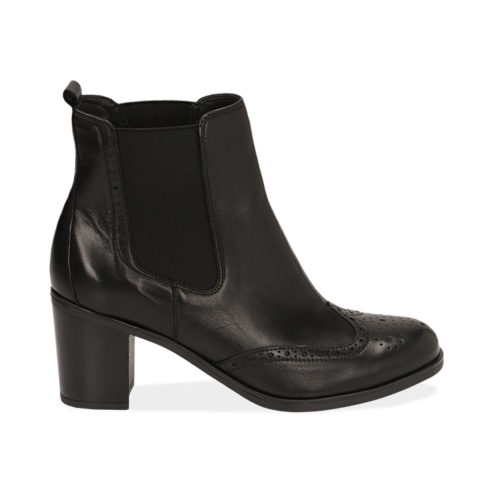 Ankle boots neri in pelle, tacco 7,50 cm, Primadonna, 167738004PENERO035