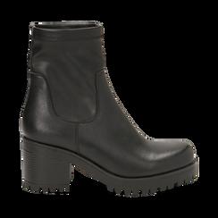 Biker boots neri in eco-pelle, tacco 7 cm , Stivaletti, 142828200EPNERO, 001 preview