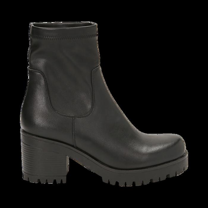 Biker boots neri in eco-pelle, tacco 7 cm , Stivaletti, 142828200EPNERO