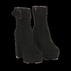 Ankle boots neri con plateau, tacco 13 cm , Scarpe, 144894154MFNERO036, 002a