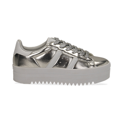 Sneakers argento in laminato con suola platform 4 cm, Scarpe, 130101010LMARGE036, 001 preview