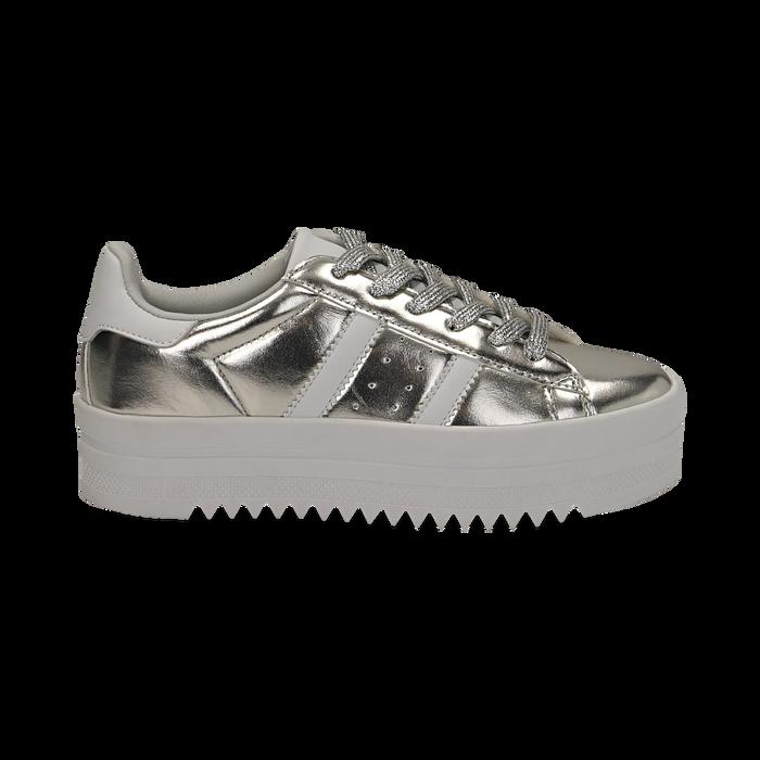 Sneakers argento in laminato con suola platform 4 cm, Scarpe, 130101010LMARGE036