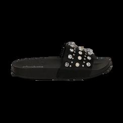 Zeppe nere in raso con perle e strass, Primadonna, 112028218RSNERO, 001 preview