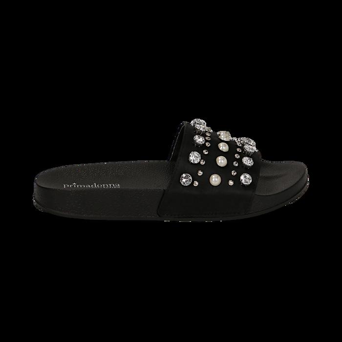 Zeppe nere in raso con perle e strass, Primadonna, 112028218RSNERO