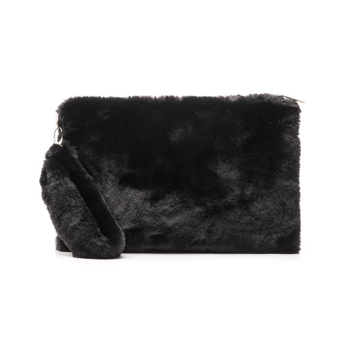 Pochette nera in eco-fur, Borse, 14B443016FUNEROUNI