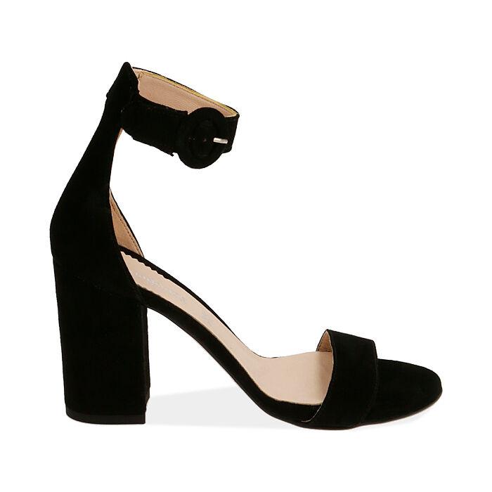 Sandali neri in camoscio, tacco 8,5 cm, Primadonna, 15D600501CMNERO041