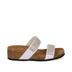 Sandali platform bianchi in vernice, con strass, zeppa in sughero 5 cm , Primadonna, 117811048VEBIAN036, 001a