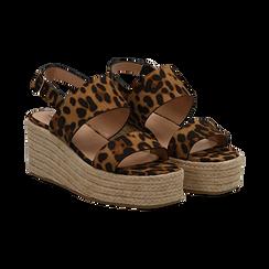 Sandali platform leopard in microfibra, zeppa in corda 7 cm , Saldi, 132708157MFLEOP035, 002 preview