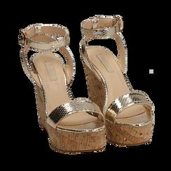 Sandali oro in eco-pelle snake print, zeppa 12 cm , Zapatos, 154985241EVOROG039, 002a