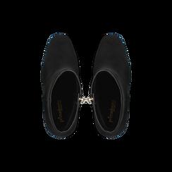 Tronchetti neri con punta stondata, tacco 10 cm, Scarpe, 122196916MFNERO040, 004 preview