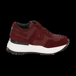 Sneakers bordeaux in tessuto tecnico, suola 5,50 cm , Scarpe, 142898983TSBORD035, 001 preview