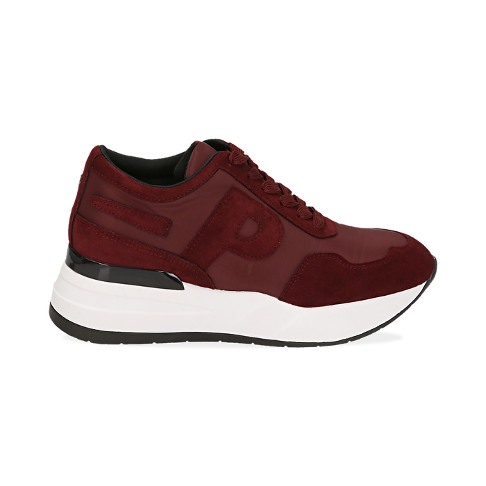 Sneakers bordeaux in tessuto tecnico, suola 5,50 cm , Scarpe, 142898983TSBORD035