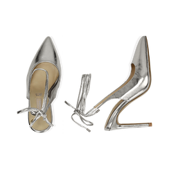 Slingback argento in eco-pelle laminata, tacco 10 cm , Primadonna, 152120715LMARGE035, 003 preview