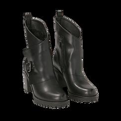 Biker boots neri in eco-pelle, tacco 8 cm , Scarpe, 140637855EPNERO035, 002a