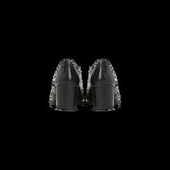 Francesine stringate in vera pelle nere, tacco medio , Primadonna, 127711405PENERO037, 003 preview