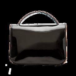 Borsa a tracolla nera in ecopelle vernice, Saldi, 122408030VENEROUNI, 002 preview