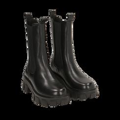 Chelsea boots neri, platform 6 cm, Primadonna, 160622483EPNERO035, 002a