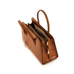 Bolsa de mano en eco-piel con estampado de cocodrilo color cuero, Bolsos, 155702495CCCUOIUNI, 004 preview