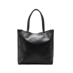 Borsa shopper nera in ecopelle con doppia zip anteriore, Borse, 122300304EPNEROUNI, 002 preview