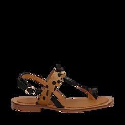 Sandali infradito neri in eco-pelle con dettaglio leopard, Primadonna, 135201202EPNERO035, 001a