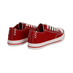 Sneakers rosse in canvas, Scarpe, 137300862CAROSS036, 004 preview