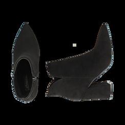 Ankle boots neri in microfibra, tacco 9 cm , Primadonna, 162709165MFNERO037, 003 preview