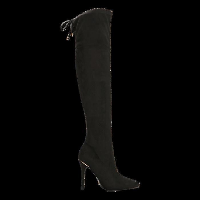 Stivali sopra il ginocchio neri, tacco stiletto 11 cm, Scarpe, 122146868MFNERO