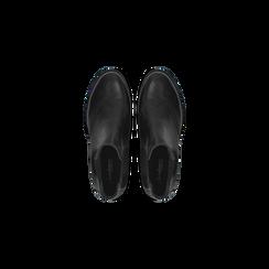 Chelsea Boots neri in vera pelle, tacco basso, Scarpe, 127717706PENERO, 004 preview