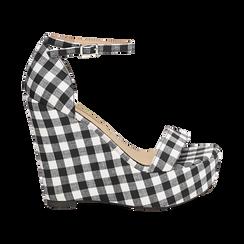 Sandali bianco/neri in tessuto Vichy, zeppa 13 cm, Scarpe, 132117220TSNEBI035, 001 preview