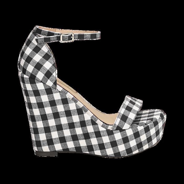 Sandali bianco/neri in tessuto Vichy, zeppa 13 cm, Scarpe, 132117220TSNEBI035