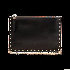 Clutch nera in ecopelle con profilo mini-borchie, Saldi, 123308330EPNEROUNI, 003 preview