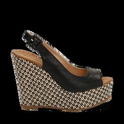 Sandali platform neri in eco-pelle, zeppa intrecciata 13 cm , Primadonna, 134907984EPNERO036, 001a