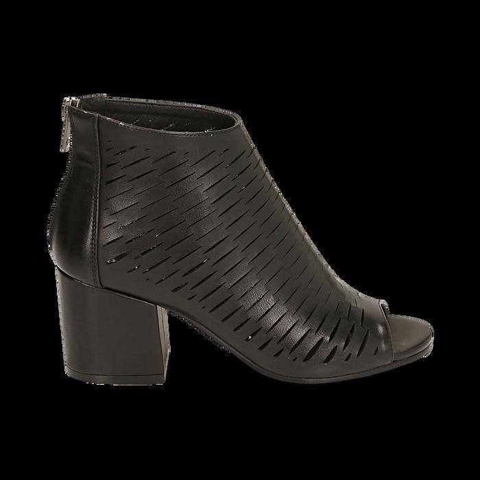 Botines open toe en eco piel perforada color negro, tacón 7 cm, Zapatos, 150726931EPNERO036