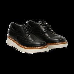 Stringate flatform nere in eco-pelle, Scarpe, 133009503EPNERO036, 002 preview