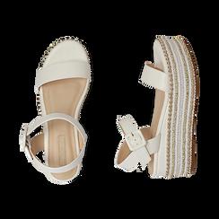 Sandali bianchi in eco-pelle, zeppa 7 cm , Primadonna, 154932211EPBIAN035, 003 preview