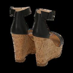 Sandali neri, zeppa 12 cm, Scarpe, 154981001EPNERO, 004 preview
