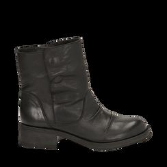 Biker boots neri in pelle, tacco 4 cm , Stivaletti, 147718214PENERO035, 001a