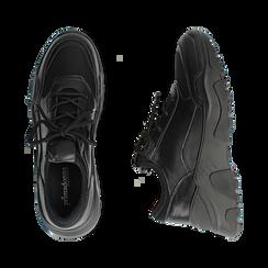 Dad shoes nere in eco-pelle, zeppa 4 cm, Primadonna, 142892502EPNERO037, 003 preview
