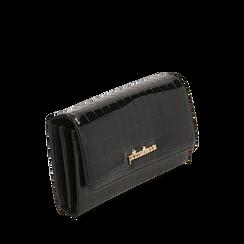 Portafogli nero in eco-pelle effetto cocco , Borse, 142200898CCNEROUNI, 002a