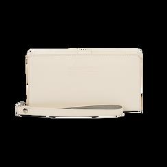 Portafoglio bianco in eco-pelle con laccetto per il polso, Borse, 133723431EPBIANUNI, 001 preview