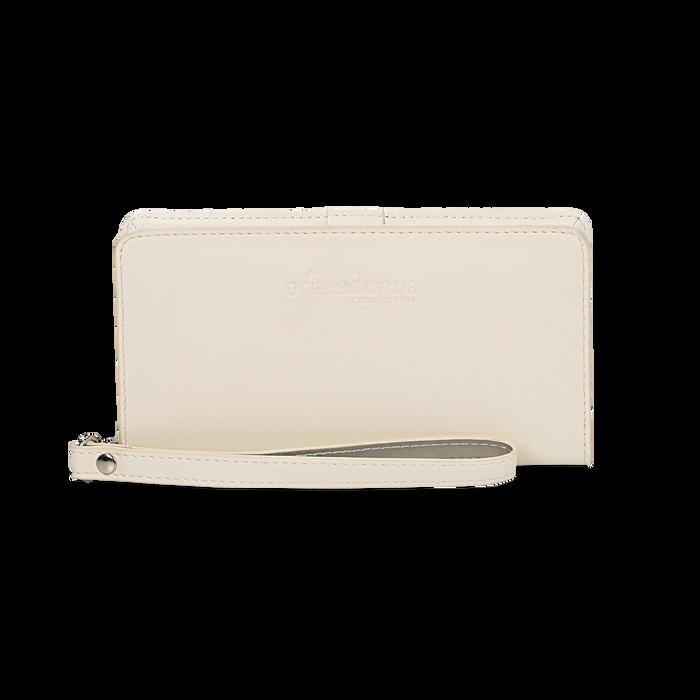 Portafoglio bianco in eco-pelle con laccetto per il polso, Borse, 133723431EPBIANUNI