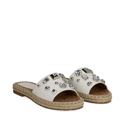 Mules espadrillas bianche in eco-pelle con gemme, Primadonna, 134900008EPBIAN036, 002a