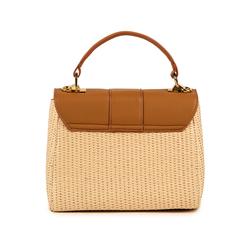 Mini bag beige in eco-pelle e rafia, Borse, 152392479RFBEIGUNI, 003 preview